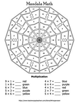 Multiplication Mandala Math Color by Number Bundle