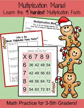 Multiplication Mania: Learn 9 Hardest Multiplication Facts-Christmas Themed