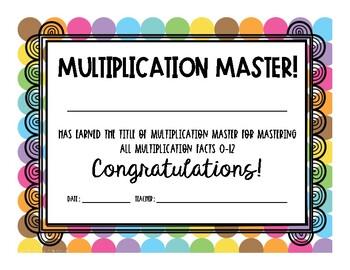 Multiplication Master Certificate