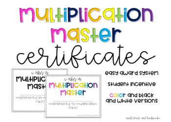 Multiplication Master Certificates