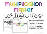 Multiplication Master Certificates