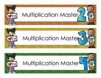 Multiplication Masters Bulletin Board Signs
