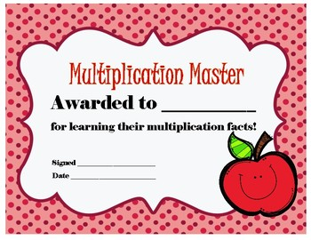 Multiplication Masters Certificate!