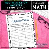 Multiplication Masters Study Sheet!