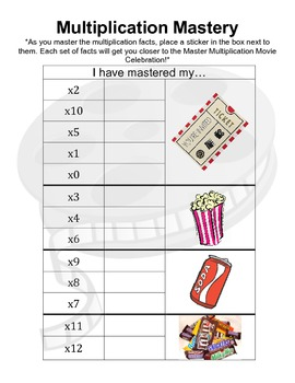 Multiplication Mastery Incentive Chart - Movie Incentive