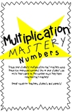 Multiplication Printable Numbers - Mastery Tracking, bulle