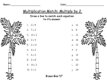 Summer Multiplication Match NO PREP