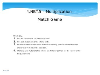 2 digit by 2 digit Multiplication Match Game