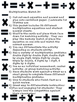 Multiplication Match It Activity