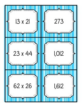 Multiplication Match Up - 2 digit by 2 digit