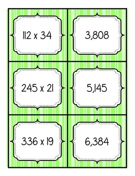 Multiplication Match Up - 2 digit by 3 digit