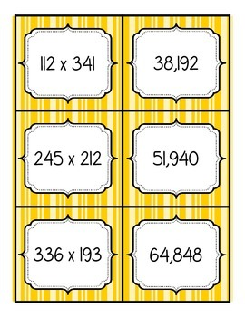 Multiplication Match Up - 3 digit by 3 digit