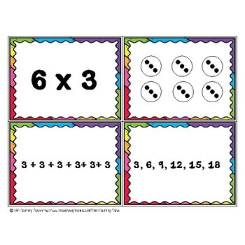 Math Multiplication Match Up Cards 3.OA.A.1 & 3.OA.A.3