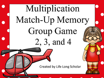 Multiplication Match-Up Memory Game 2, 3, and 4's facts