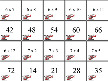 Multiplication Match-Up Memory Game 6, 7, and 8's facts