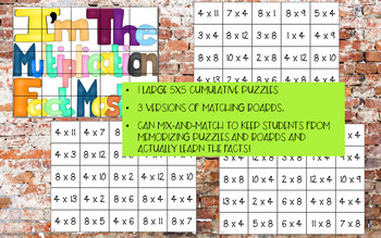 Multiplication Match-Up Puzzles 4 & 8 {Subway Art}