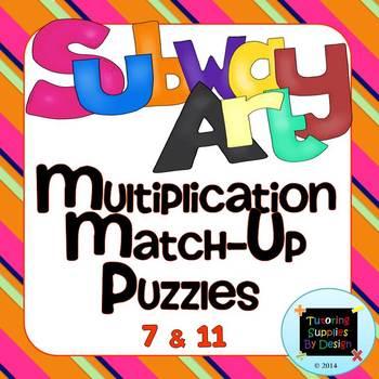 Multiplication Match Up Puzzles 7&11 {Subway Art}