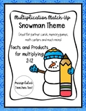 Multiplication Match-Up X 2-12 Snowman Theme Multiplying b