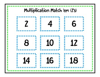 Multiplication Match 'em (2's)