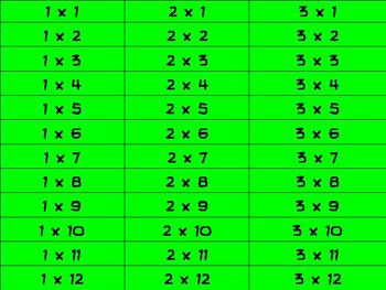 Multiplication Match up Game Multiplication Facts