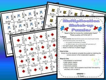 Multiplication Match-up Puzzles