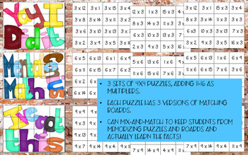 Multiplication Match-up Puzzles 3, 6, & 9 {Subway Art}