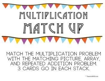 Multiplication Match up (repeated addition, arrays, and pictures) Math station