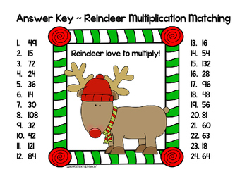 Multiplication Matching Cards: Reindeer Edition {3.OA.7 ~ 4.NBT.5}