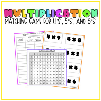 Multiplication Matching Game for 4's, 5's, and 6's