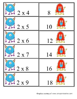 Multiplication Matching Game Products to 30