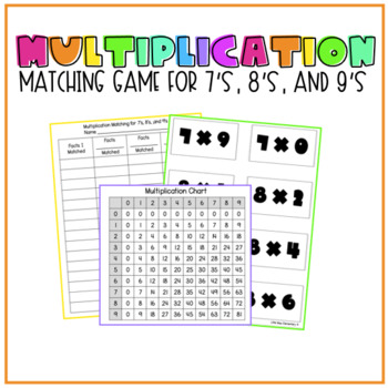 Multiplication Matching Game for 7's, 8's, and 9's