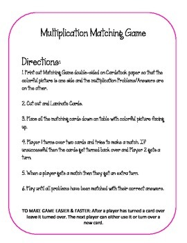 Multiplication Matching Game.Facts Families 0-9. Math Center Activity Review