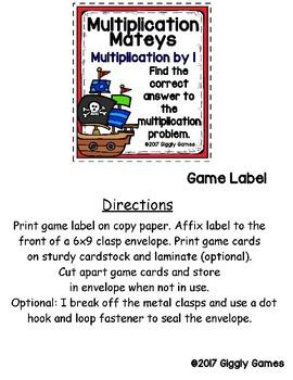 Multiplication Mateys Multiplication by 1 Envelope Center