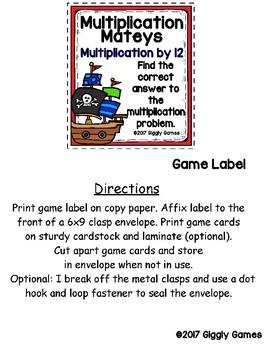 Multiplication Mateys Multiplication by 12 Envelope Center