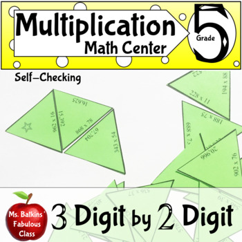 Multiplication Three Digit by Two Digit Self Checking Math Center Activity