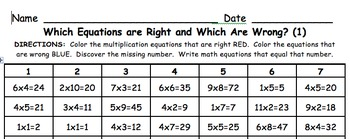 Multiplication Math Center Game: Which Equation is Wrong a