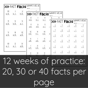 Multiplication Math Fact Fluency   Fast Facts Folders