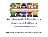 Multiplication Math Fact Mastery Achievement Recognition Certificates