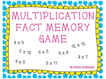 Multiplication Math Fact Memory Game