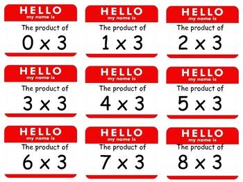 Multiplication Math Fact Nametags