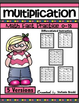 Multiplication Math Fact Practice 0-12