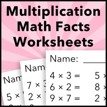 Summer Multiplication Math Facts Worksheets