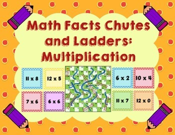 Multiplication Math Facts Chutes and Ladders - Chutes and Ladders Board Included