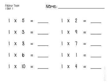 Multiplication Math Facts: Mini Factor Tests, Timer, and Incentive Chart