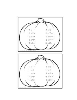 Multiplication Math Facts 0-12 Pumpkin Book