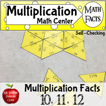 Multiplication Math Facts Puzzle for 10 , 11 , and 12 time