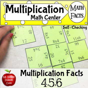 Multiplication Math Facts Puzzle for 4 5 and 6 times tables