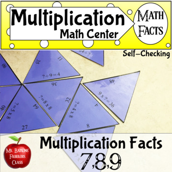 Multiplication Math Facts Puzzle for 7 , 8 , and 9 times tables