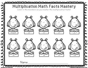 Multiplication Math Facts Student Record Charts- Freebie