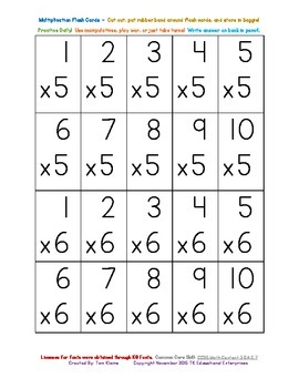 Multiplication Math Facts with Factors 0 - 12 (20 on a page - 14 pages)